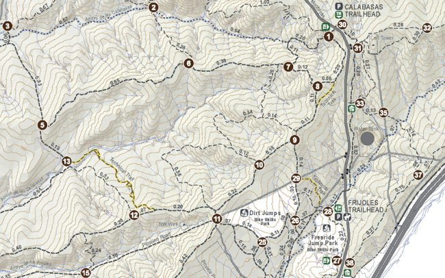 La Tierra Trails trail system map